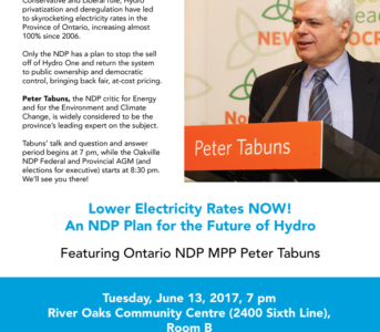Oakville NDP Annual General Meeting Features MPP Peter Tabuns