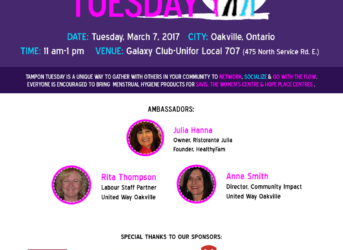 First Annual Tampon Tuesday Event in Oakville on March 7