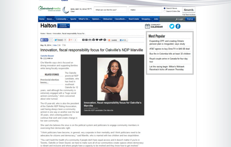 Che Marville Receives Favourable Article from Inside Halton